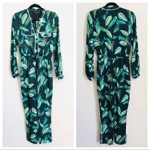Adelyn Rae Green Palm leaf long sleeve Jumpsuit